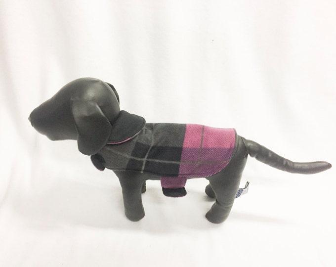 Black/Pink Plaid Dog Coat 1026