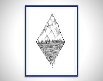 Mountain Landscape - Art Print - Hand Drawn Illustration