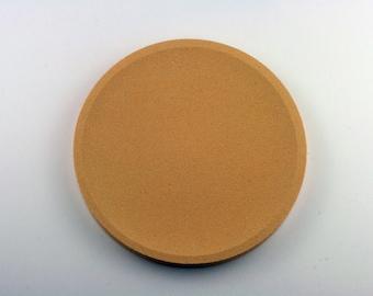 Round top in dark yellow concrete / / empty Pocket concrete / / decorative concrete tray / / concrete tray / / cast-iron serving tray