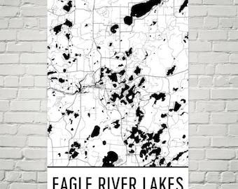 Eagle River Lakes Wisconsin, Eagle River Lakes WI, Eagle River Lakes Map, Wisconsin Map, Lake House Decor, Lake Map, Eagle River Lake Print
