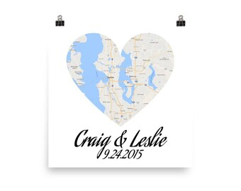 Wedding Gifts For Couples, Unique Wedding Gift, Wedding Present, Map Art Print, Gift for Bride, Wedding Gift Ideas, Bridal Shower Gift