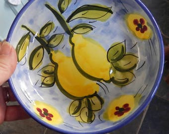 Handmade Sunny Retro Bowl, Hand Painted Bowl, Lemons, Glazed Bowl, Breakfast Bowl, Kitchen Tableware