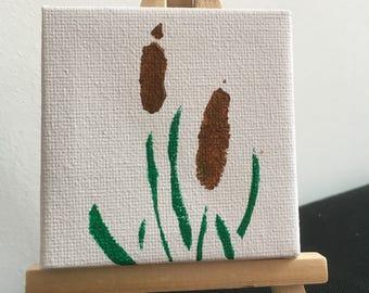 Mini painting cattail