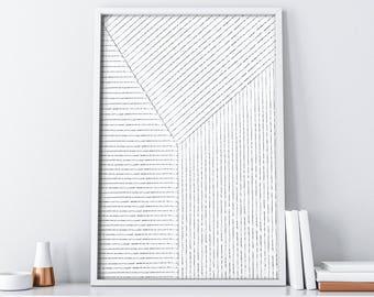 Lines Art| Printable Black and White Minimalist Poster| Black and White Stripes| Modern Digital Print| Geometric Art| Extra Large Wall Art