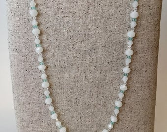White and aqua beaded long necklace