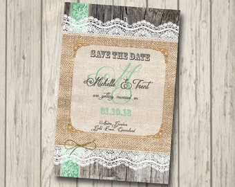 SAVE THE DATE Rustic Wood engagment Invitation engagement save the date Party Invite personalised invitation