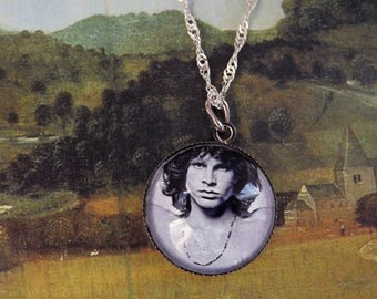 Jim Morrison necklace – Jim Morrison pendant – Chain - Morrison cabochon – Glass cabochon Jim Morrison The doors necklace 0.8 inch