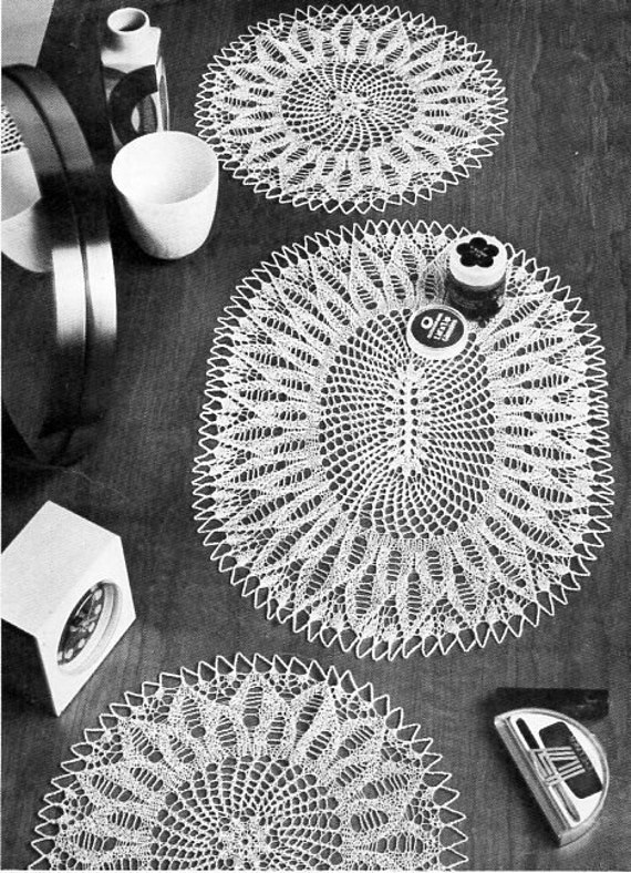 Vintage knitted lace doily knitting pattern pdf knitted