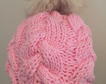 Braided Merino hand knitted tuque hat made in quebec