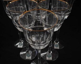 Lenox Crystal Regency Limited Crystal Water Goblets Wine Glasses Gold Band Set of 6