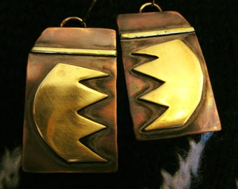 Lightweight Earrings - Oxidized Copper and Brass