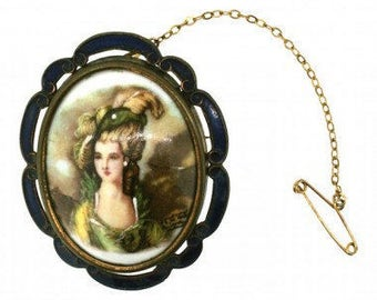 Thomas L Mott Blue and Gold 1950s Vintage Portrait Brooch