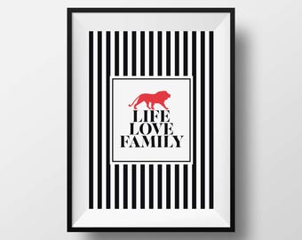 Life Love Family print, Family quote print, Family quote wall art decor, Black white red print, Fashion print, Contemporary wall art