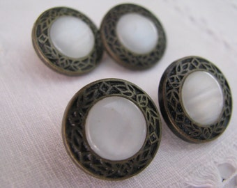 4 Vintage Metal Faux Mother of Pearl Buttons