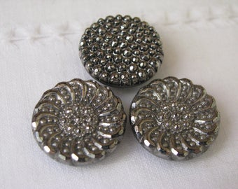 3 Vintage Black Glass Silver Faceted Self Shank Buttons