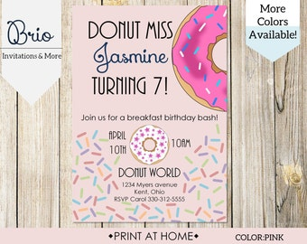 Donut Birthday Party Breakfast Invitation, Print at Home