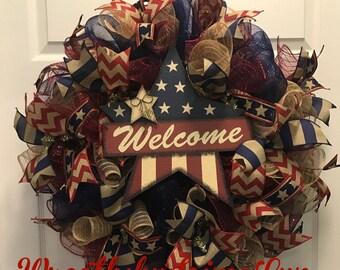 Patriotic Welcome Wreath, Rustic Patriotic Wreath, Memorial Day Wreath, Fourth of July Wreath, Welcome Wreath, Rustic Welcome Wreath