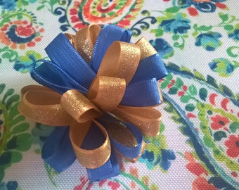 Blue and Gold Pom Pom on Barrette