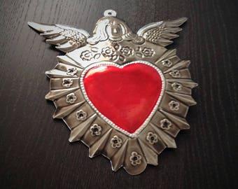 Tin Angel and Heart Plaque Aged Look Handmade Mexican Tin Wall Ornament Mexican Folk Art
