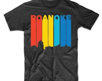 Retro 1970's Style Roanoke Virginia Skyline T-Shirt