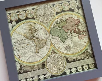 Framed Print - Antique Map of the World