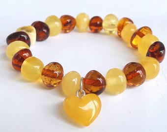 Baltic amber heart bracelet amber heart charm honey amber bracelet cognac amber bracelet multi color bracelet amber heart jewelry amber gift