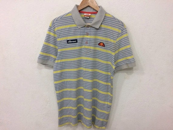 Vintage Ellesse Small Logo Spellout   Striped Button Collar Tshirt
