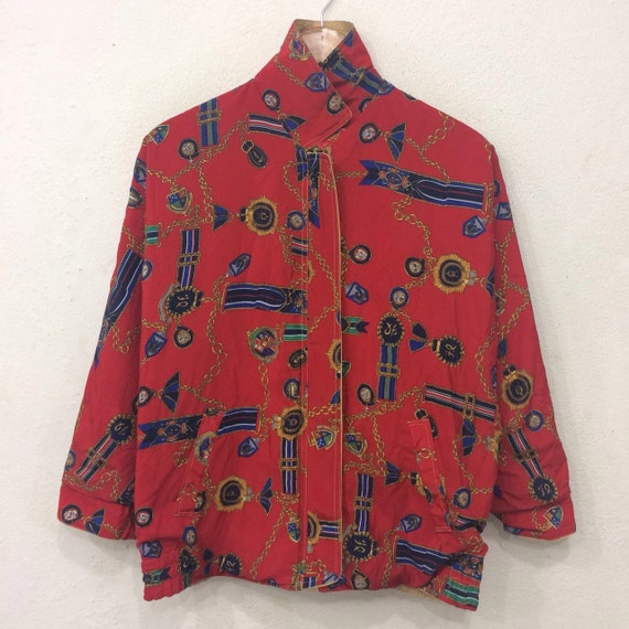 Rare!! Vintage Reversible All Over Print Pull Zip Double Pockets Sweater Nice Design