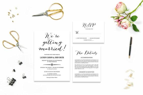 Elegant wedding invite_11,Printable Wedding Invitation Suite,Wedding Invite Set,Wedding Printable,Calligraphy