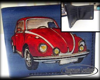 """Leather Wallet """"VOLKSWAGEN Beetle"""" (CMKn36)"""