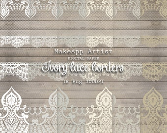 Ivory Lace Digital Png | Lace Png | 18 Ivory Lace Png 300 DPI | You Print