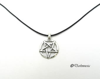 Necklace, inverted pentacle, pentagram, black cord, pendant, goth, gothic, witch, witchcraft, satan, satanic, occult