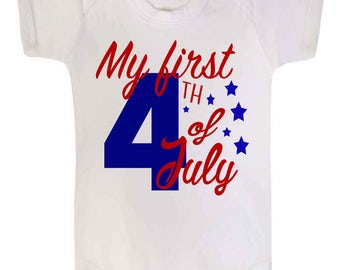 My First 4th of July Baby Vest Romper Sleepsuit Baby Clothes Babywear America Fourth of July Babies First July Baby Shower July Baby