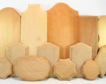 Assortment of 15 Unfinished Wood Plaques for Rosemåling or Tole Painting Projects, Lot 1