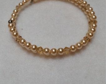 Double wrap Swarovski pearls and crystal bracelet