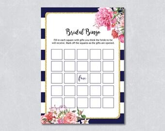 Bridal bingo game / Nautical bridal shower game / Navy blue / Floral / Gold Glitter /  DIY Printable / INSTANT DOWNLOAD