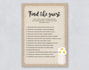 Find the guest / Rustic burlap bridal shower game / Daisy floral  / Burlap country / DIY Printable / INSTANT DOWNLOAD