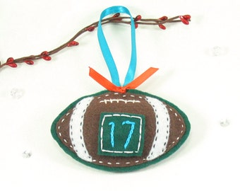 Personalized Football Ornament, For Door Knob or Wall, Miami Dolphins, NFL Football, Boy Gift, Sports, Cool Mens Gifts