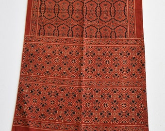 Handmade Cotton Scarf / Hand Block Printed with Natural Brownis-Red, Black color fashion scarf/gift