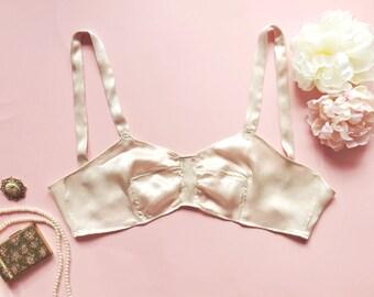 The Elsie May- 1920's, bralette, brassiere, bra, vintage, lingerie, art deco style, bridal lingerie, bullet bra, silk lingerie, retro bra