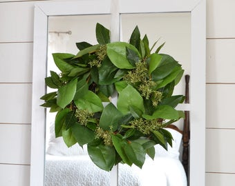 Small Greenery Wreath; Wreath to Hang on Mirror; Olive Leaf Wreath; Farmhouse Wreath; Cottage Wreath: Fixer Upper Style