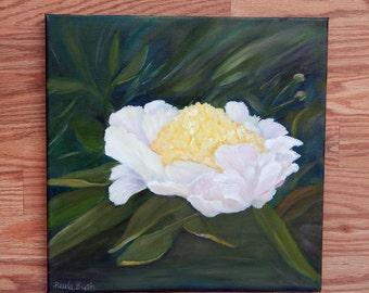 White Peony. Peony Painting. Original Oil Painting. 12x12. Floral Painting.