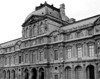 Le Louvre Wall Art; French art; black and white art; modern minimalist art; Paris wall art; Paris; gallery wall art; shelf decor;
