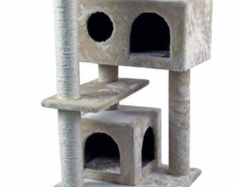 """CT4-BE 50"""" Hiding Cat Tree Special Cat Tree Tower Condo Furniture Scratch Post Kitty Pet House Play Furniture Sisal Pole and Stairs (Beige)"""