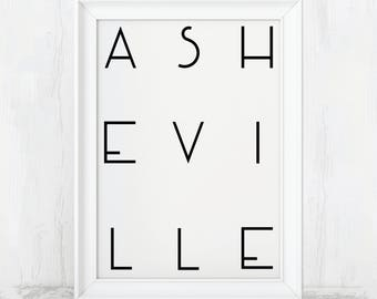 Asheville Print, Printable, Digital Print, Asheville nc, Asheville Poster, Asheville, Asheville nc Art, Asheville North Caro, Asheville Gift