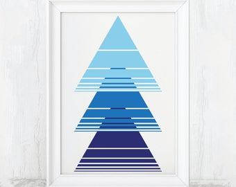 Triangle Wall Art, Printable Art, Navy Blue Wall Art, True Blue Wall Art, Sky Blue Wall Art, Navy Blue Decor, True Blue Decor, Sky Blue, Art