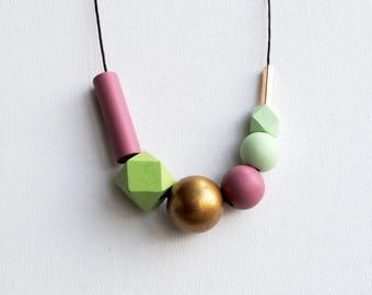 Handpainted Geometric Necklace, Pastel Statement Necklace, Color block necklace, Handmade necklace, Wooden necklace  Polka dots