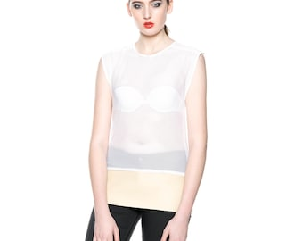 Handmade Airtex Funky Vest Top White