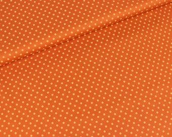 Cotton polka dot yellow on orange (9,90 EUR / meter)