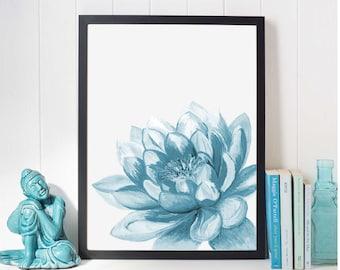 Azure Blue Lotus Flower Art, Yoga Artwork, Lotus Flower Decor, Yoga Painting, Yoga Art, blue Wall Art Print, Yoga Poster, Water lily flower